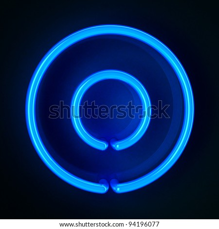 Highly detailed neon sign with the letter O - stock photo