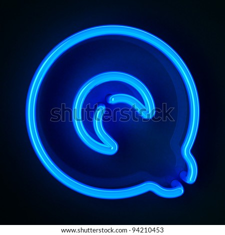 Highly detailed neon sign with the letter Q - stock photo