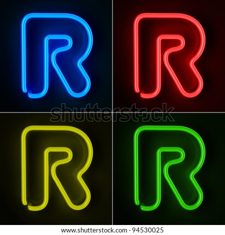 Highly detailed neon sign with the letter R in four colors - stock photo