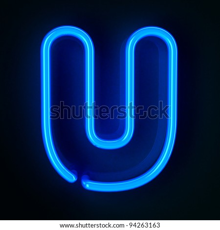 Highly detailed neon sign with the letter U - stock photo