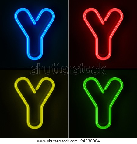 Highly detailed neon sign with the letter Y in four colors - stock photo