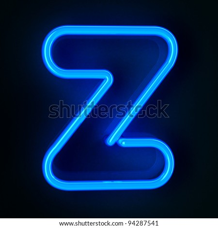 Highly detailed neon sign with the letter Z - stock photo