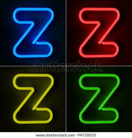 Highly detailed neon sign with the letter Z in four colors - stock photo