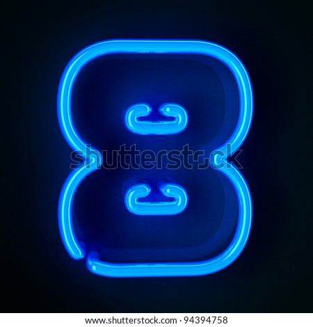 Highly detailed neon sign with the number eight - stock photo