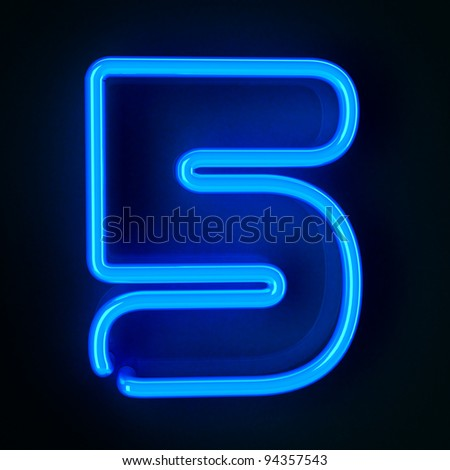 Highly detailed neon sign with the number five - stock photo