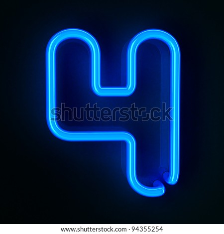 Highly detailed neon sign with the number four - stock photo