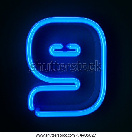 Highly detailed neon sign with the number nine - stock photo