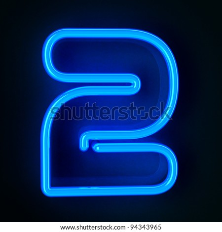 Highly detailed neon sign with the number two - stock photo