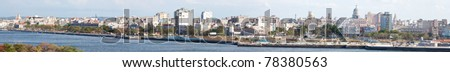 Highly detailed panoramic image of Old Havana taken from the other side of the bay - stock photo