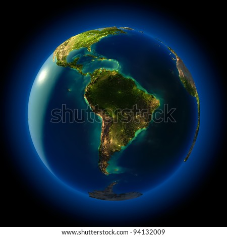Highly detailed planet Earth at night, lit from behind the evening sun, with embossed continents, illuminated by light of cities, translucent and reflective ocean