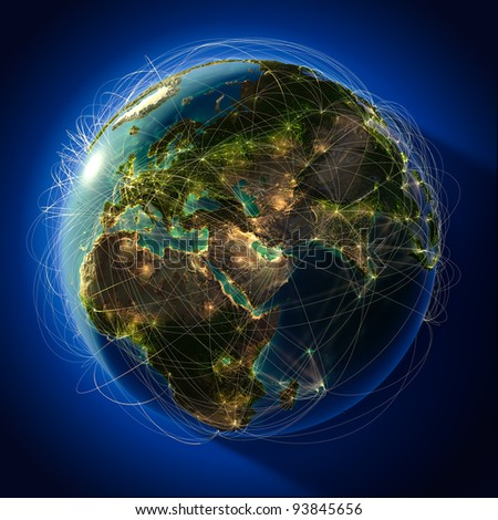 Highly detailed planet Earth at night, with embossed continents, illuminated by light of cities. Earth is surrounded by a luminous network, representing the major air routes based on real data