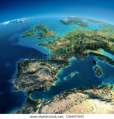 Highly detailed planet Earth. Exaggerated precise relief is illuminated by the rising sun from the east. Part of Europe, Spain, the Mediterranean Sea. Elements of this image furnished by NASA - stock photo