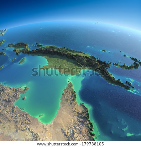 Highly detailed planet Earth in the morning. Exaggerated precise relief lit morning sun. Detailed Earth. Australia and Papua New Guinea. Elements of this image furnished by NASA - stock photo