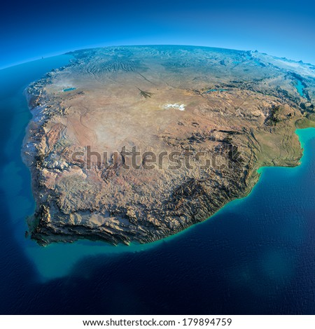 Highly detailed planet Earth in the morning. Exaggerated precise relief lit morning sun. Detailed Earth. South Africa. Elements of this image furnished by NASA - stock photo