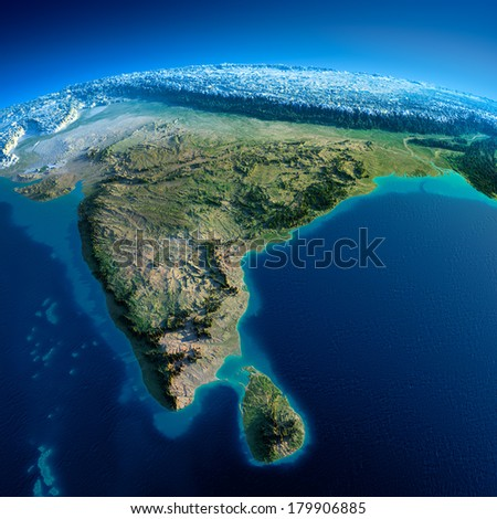 Highly detailed planet Earth in the morning. Exaggerated precise relief lit morning sun. Detailed Earth. India and Sri Lanka. Elements of this image furnished by NASA - stock photo