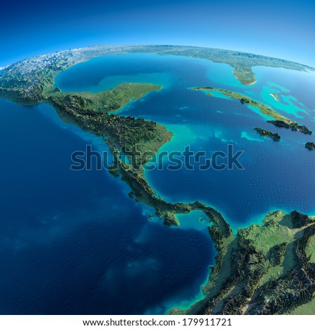 Highly detailed planet Earth in the morning. Exaggerated precise relief lit morning sun. Detailed Earth. The countries of Central America. Elements of this image furnished by NASA - stock photo