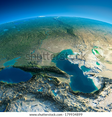 Highly detailed planet Earth in the morning. Exaggerated precise relief lit morning sun. Detailed Earth. Caucasus. Elements of this image furnished by NASA - stock photo