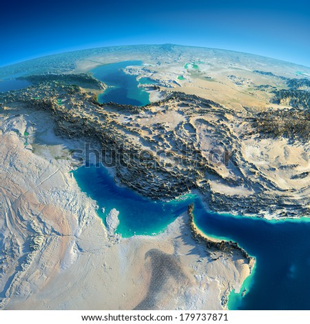Highly detailed planet Earth in the morning. Exaggerated precise relief lit morning sun. Persian Gulf. Elements of this image furnished by NASA - stock photo