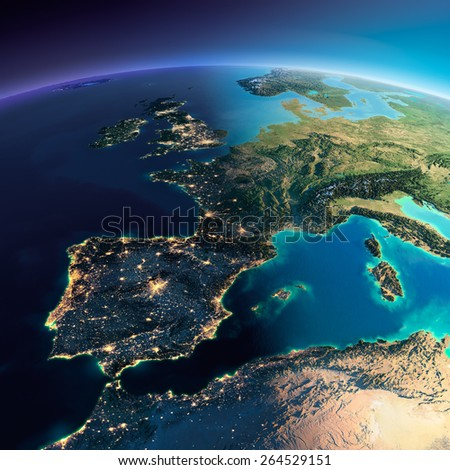 Highly detailed planet Earth. Night with glowing city lights gives way to day. The boundary of the night & day. Part of Europe, the Mediterranean Sea. Elements of this image furnished by NASA - stock photo
