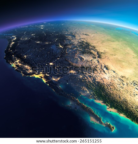 Highly detailed planet Earth. Night with glowing city lights gives way to day. The boundary of the night & day. Mexico and the western U.S. states. Elements of this image furnished by NASA - stock photo