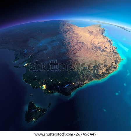 Highly detailed planet Earth. Night with glowing city lights gives way to day. The boundary of the night & day. Australia and Tasmania. Elements of this image furnished by NASA - stock photo