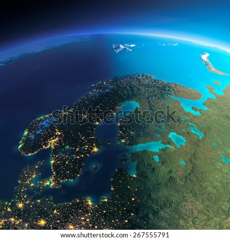Highly detailed planet Earth. Night with glowing city lights gives way to day. The boundary of the night & day. Europe. Scandinavia. Elements of this image furnished by NASA - stock photo
