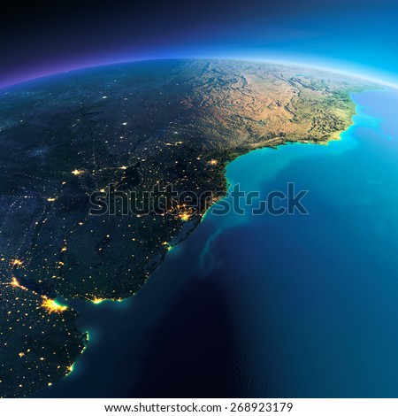 Highly detailed planet Earth. Night with glowing city lights gives way to day. The boundary of the night & day. South America. Rio de La Plata. Elements of this image furnished by NASA - stock photo
