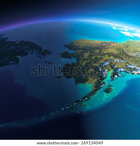 Highly detailed planet Earth. Night with glowing city lights gives way to day. The boundary of the night & day. Chukotka, Alaska and the Bering Strait. Elements of this image furnished by NASA - stock photo