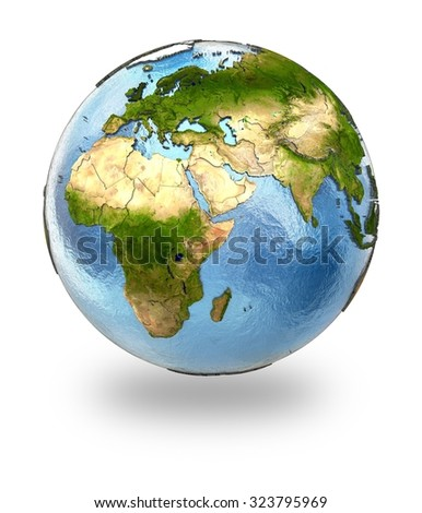 Highly detailed planet Earth with embossed continents and visible country borders featuring Europe and Africa. Isolated on white background. Elements of this image furnished by NASA. - stock photo