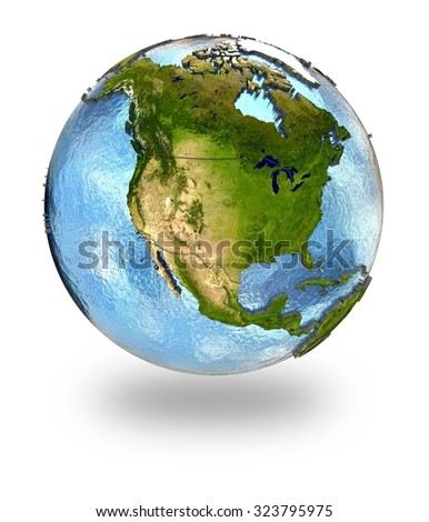 Highly detailed planet Earth with embossed continents and visible country borders featuring North America. Isolated on white background. Elements of this image furnished by NASA. - stock photo