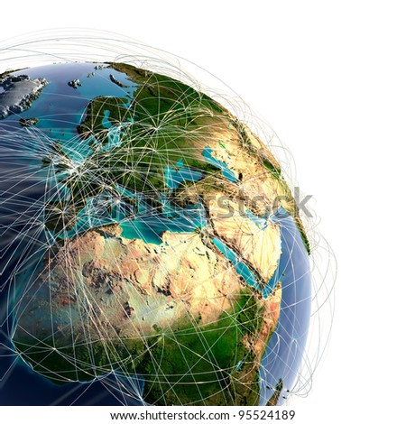 Highly detailed planet Earth with high relief and translucent ocean. Earth is surrounded by a shiny wire network, representing the major air routes based on real data - stock photo