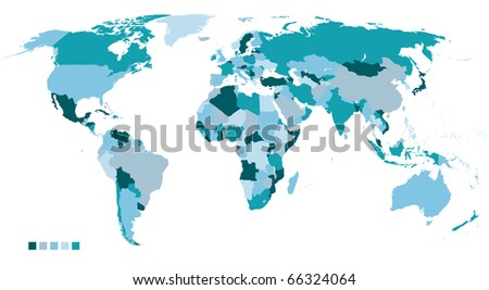 highly detailed political world map - stock photo