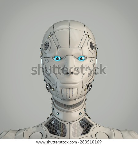 Highly detailed robot girl head - stock photo