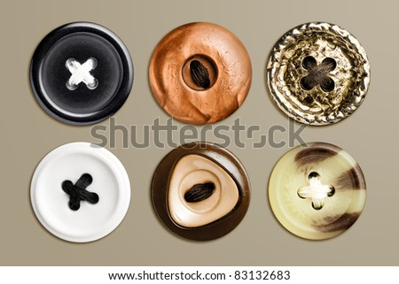 Highly detailed set of sewed clothes buttons, isolated - stock photo