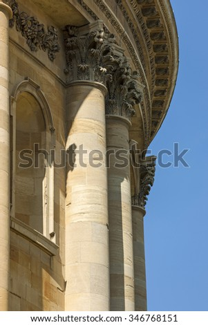 Highly detailed stone columns on a historic building - stock photo