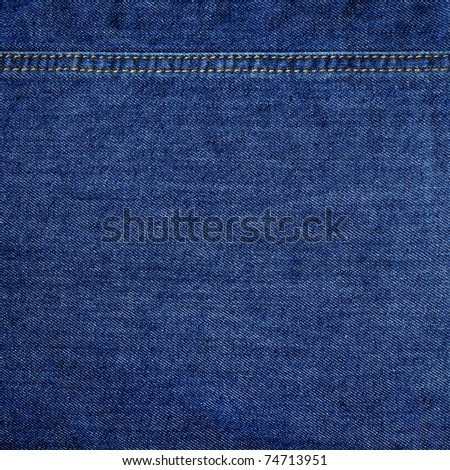 Highly detailed texture - abstract blue jeans background with double thread's seam - stock photo