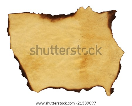 Highly detailed textured antique paper with burned edges studio isolated on white . - stock photo
