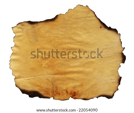 Highly detailed textured antique paper with burned edges studio isolated on white . Great grunge background for your projects. - stock photo