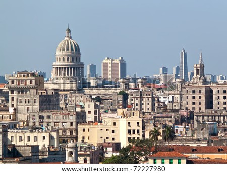Highly detailed view of Havana including the Capitol and the tower of Revolution Square in the background - stock photo