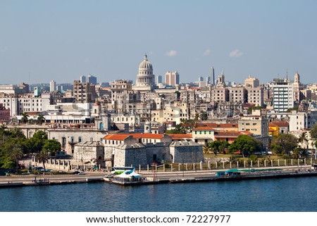 Highly detailed view of Old Havana including the bay and the Capitol in the background - stock photo
