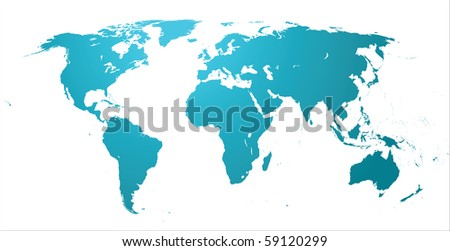 highly detailed world map - stock photo