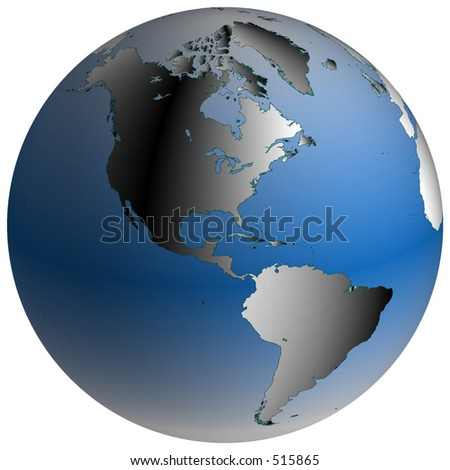 Highly-detailed world map in spherical co-ordinates, with America continent in view - stock photo