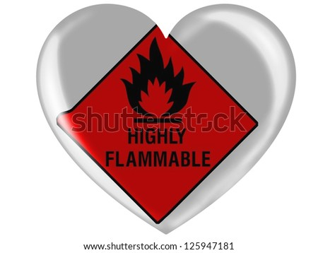 Highly flammable sign drawn on  painted on glossy heart icon - stock photo