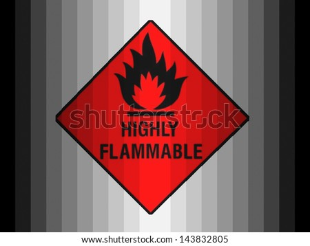 Highly flammable sign drawn on  painted on plastic - stock photo