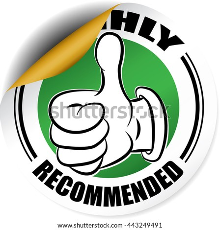 Highly Recommended green sticker, button, label and sign. - stock photo