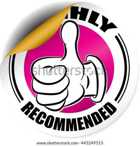 Highly Recommended pink sticker, button, label and sign. - stock photo