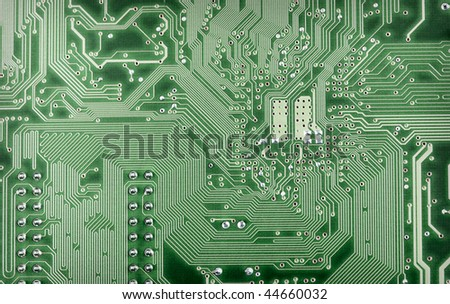 Highly technological background from a green computer plate