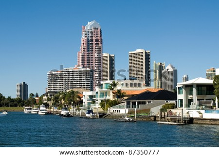 Highrise apartment buildings, Surfers Paradise, Queensland, Australia - stock photo
