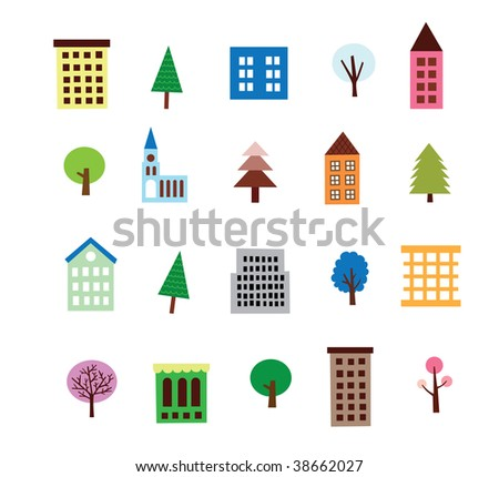 Highrise Building And Tree Set - stock photo