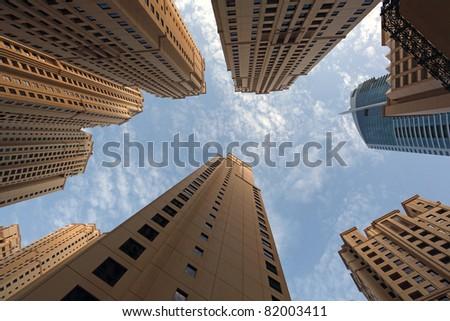 Highrise buildings at Jumeirah Beach Residence in Dubai Marina - stock photo